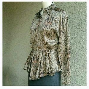 Italian vintage silk peblem blouse Medium